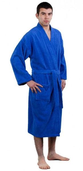 100% Turkish Cotton Adult Terry Kimono Robe - Royal Blue, Terry Cloth Robes