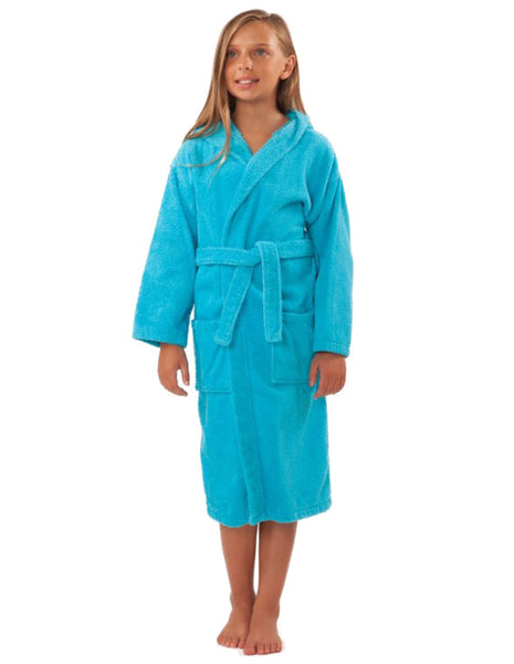 100% Turkish Cotton Kids Hooded Terry Robe - Turquoise, Kid's Robe