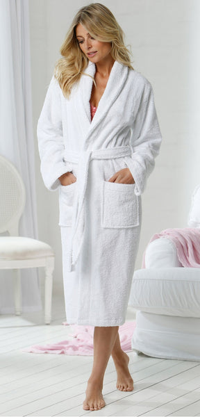 100% Turkish Cotton Shawl Collar Terry Robe - White 8812b4b33