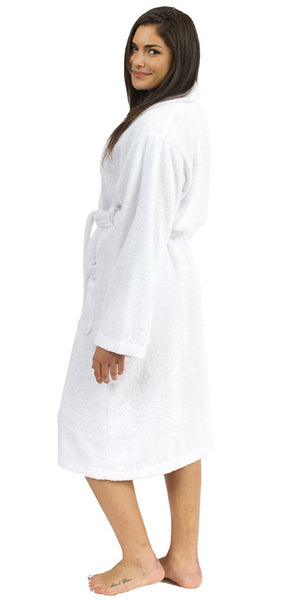 100% Turkish Cotton Shawl Collar Terry Robe - White, Terry Cloth Robes