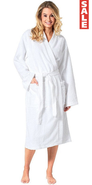 100% Turkish Cotton Terry Kimono Robe - White, Terry Cloth Robes