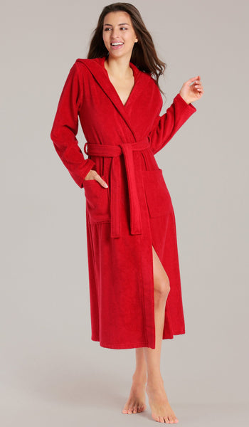 100% Turkish Cotton Terry Velour Hooded Bath Robe - Red, Terry Cloth Robes