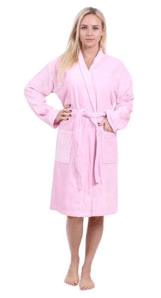 100% Turkish Cotton Women's Terry Velour Kimono Bathrobe - Pink, Terry Cloth Robes