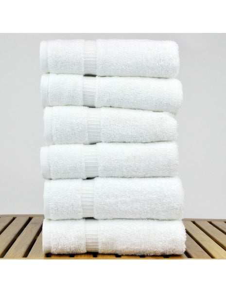 100% Cotton Dobby Border Hand Towels - White - Set of 6, Hand Towels