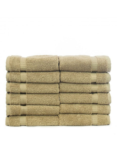 100% Turkish Cotton Wash Cloth Sets Super Soft - Drift Wood - Set of 12, Bath Towels