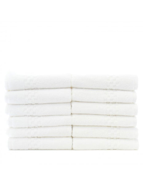 100% Turkish Cotton Wash Cloths - White - Set of 12, Bath Towels