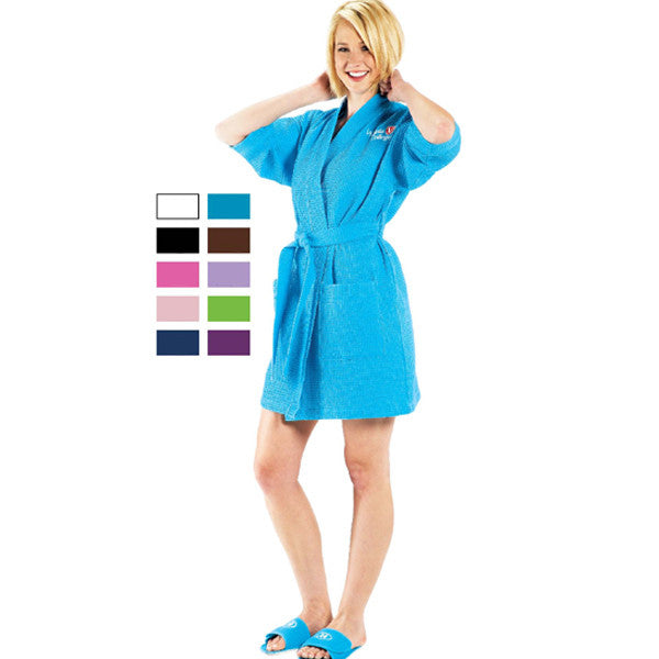 Waffle Weave Spa Robe Short - Brown, Terry Cloth Robes