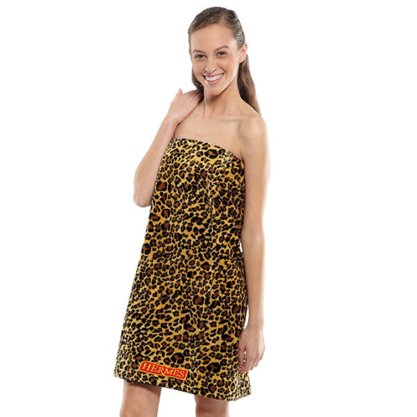 Women's Leopard Print Terry Velour Spa Shower Wrap, Bath Wraps