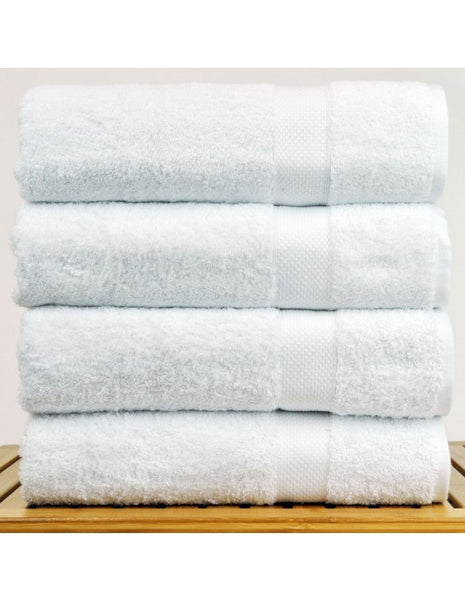 5-Star Hotel/Resort Quality Plush Bamboo Bath Towels - White - Set of 4, Bath Towels