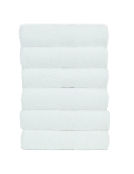 5-Star Hotel/Resort Quality Plush Cotton Hand Towels - White - Set of 6