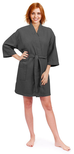 Thigh Length Waffle Weave Short Kimono Robe - Charcoal Gray, Terry Cloth Robes