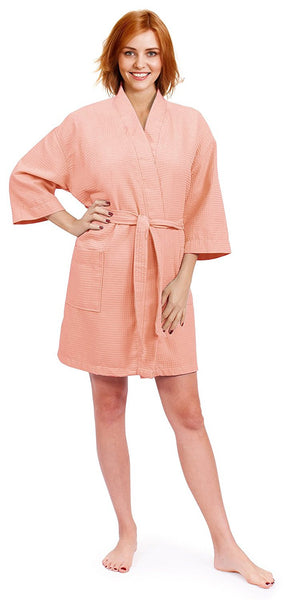 Ultra Light & Soft Waffle Spa Bathrobe - Peach, Waffle Robes