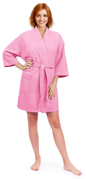 Monogrammed Waffle Robe for Bridesmaids - Pink