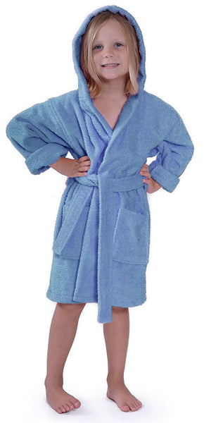 Kids Terry Cloth Robe in Mid-Calf Length- Light Blue, Kid's Robe