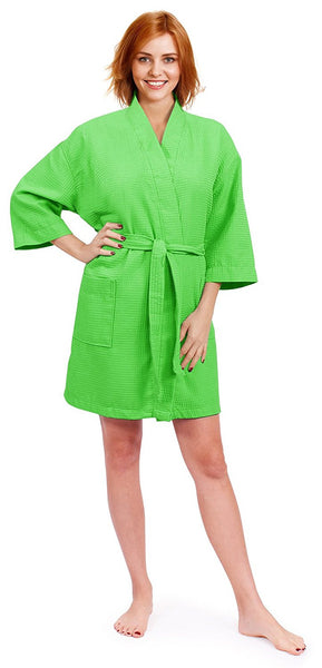 Women's Monogrammed Waffle Bathrobe for Gift - Lime Green, Waffle Robes