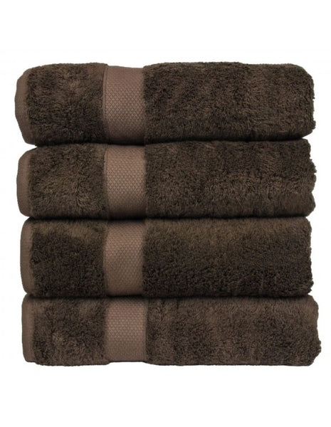 Bamboo Blended Turkish Cotton Bath Towels with Pebbled Texture - Cocoa - Set of 4, Bath Towels
