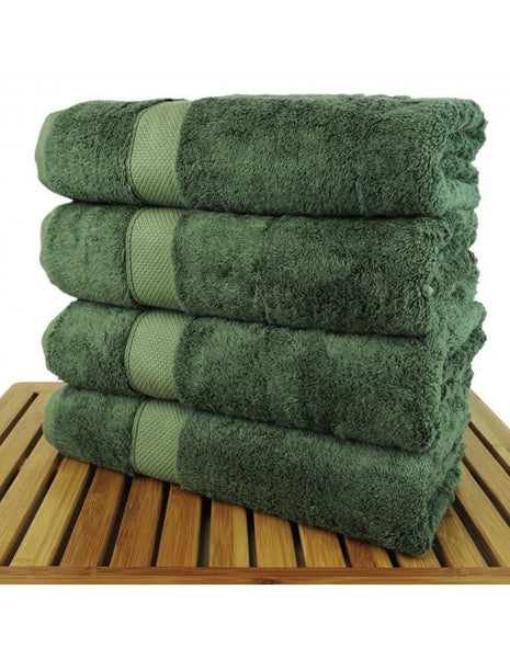 Bamboo Luxury Bath Towels Wholesale - Moss - Set of 4, Bath Towels