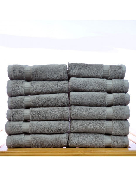 Best Terry Body Washclothes Extra Soft Discounted in Bulk - Gray - Set of 12, Bath Towels
