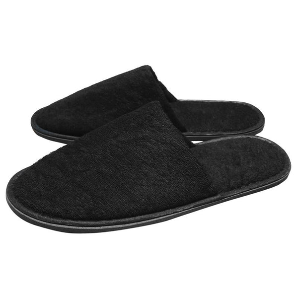 Black Closed Toe Terry Spa Hotel Slippers, Slippers