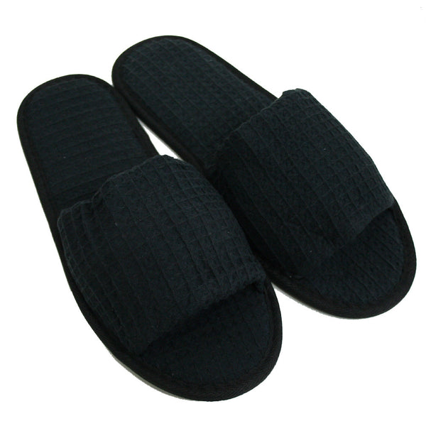 Black Open Toe Stylish Waffle Spa Slippers, Wholesale Embroidered Stylish Slippers