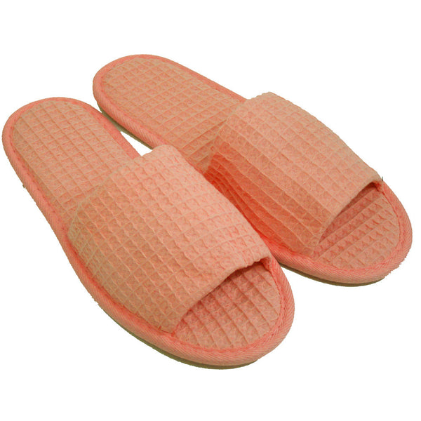 Cheap Open Toe Waffle Slippers, Hotel Spa Slippers Stylish Design