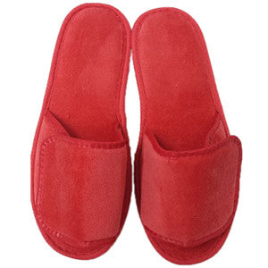 Cheap Wholesale Red Terry Velcro Open Toe Spa Slippers