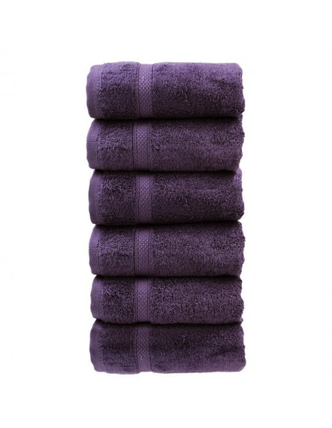 Extra Soft Bathroom Hand Towels in 5-Star Hotel Quality - Plum - Set of 6, Hand Towels
