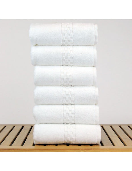 Fast Dry Lasting Color Checkered Hand Towels - White - Set of 6, Hand Towels