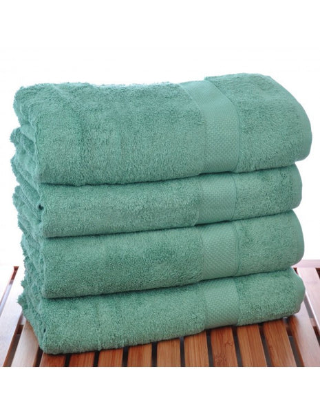 Highly Absorbent Bamboo & Cotton Bath Towels - Green - Set of 4, Bath Towels