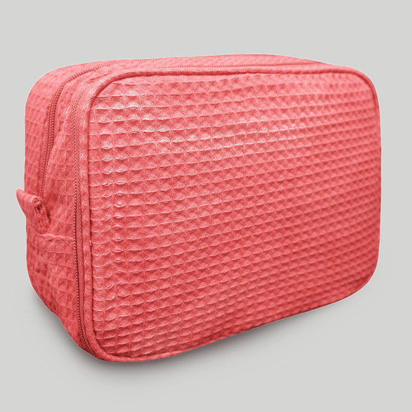 Highly Durable Multipurpose Coral Waffle Weave Makeup Bag For Women, Waffle Makeup Bags