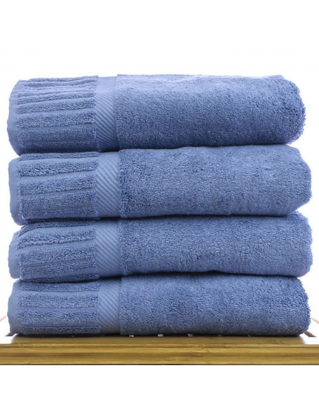 Hotel Collection Cotton Terry Towels - Wedgwood Blue  - Set of 4, Bath Towels