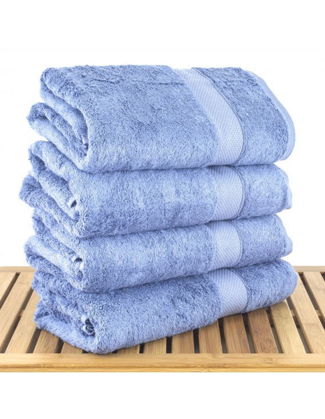 Hotel Collection Towels Turkish Cotton & Bamboo - Wedgwood Blue  - Set of 4, Bath Towels
