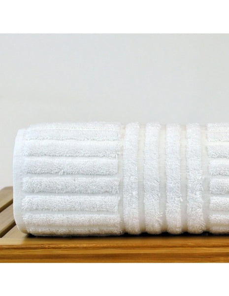 Hotel/Spa Striped Plush Bath Towels Wholesale - White - Set of 4, Bath Towels