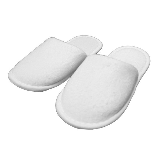 Cheap Kids Slippers, White Terry Cloth Closed Toe Spa Slippers