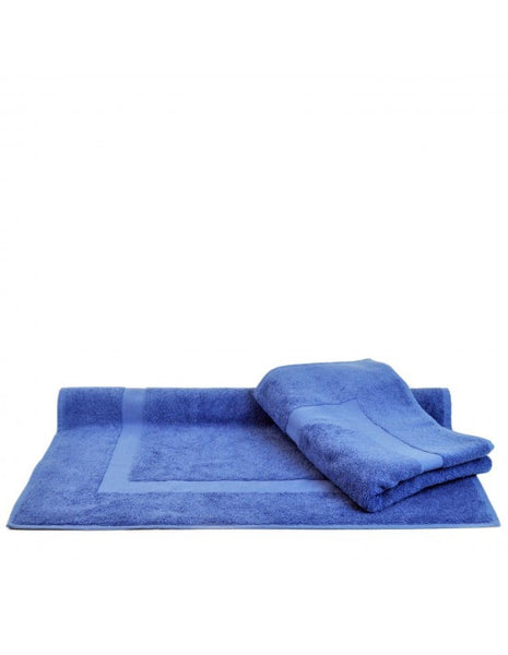 Large Size High Quality Resort Terry Bath Mats - Wedgwood Blue - Set of 2, Bath Mats