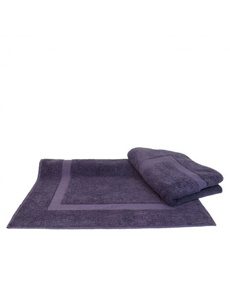 Large Wholesale Bath Mats with Dobby Border - Plum - Set of 2, Bath Towels
