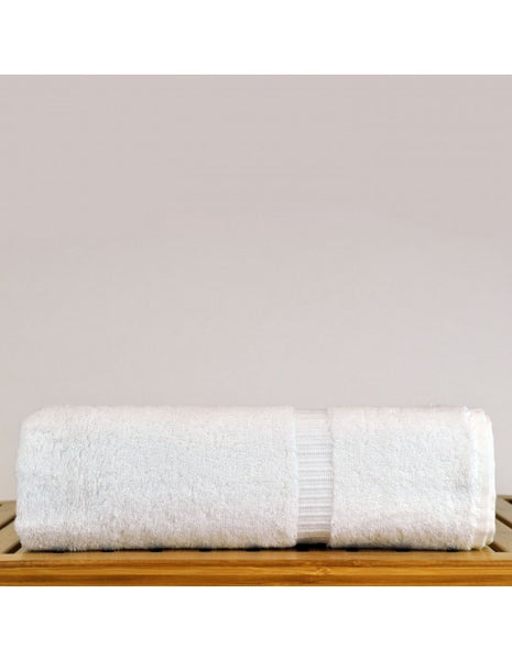 Large Wholesale Bath Towels with Dobby Border - White - Set of 4, Bath Towels