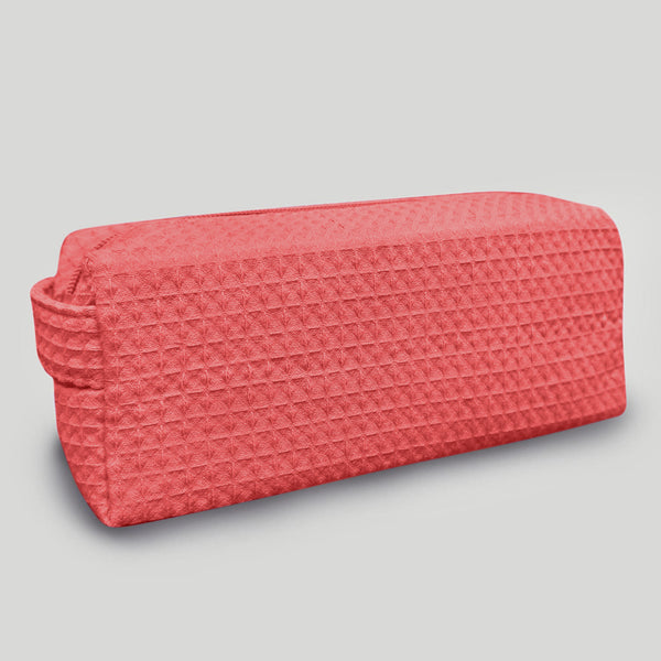 Lightweight And Durable Waffle Weave Coral Small Makeup Bag For Women Wholesale, Waffle Makeup Bags