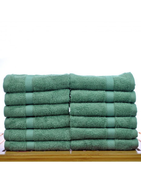 Luxury Hotel & Spa Turkish Cotton & Bamboo Blended Washcloths - Green - Set of 12, Bath Towels