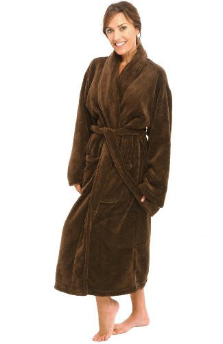 Microfiber Polyester Fleece Robe for Women - Chocolate, Fleece Robes