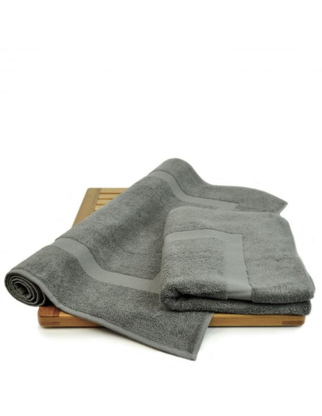 Microfiber Super Soft Cotton Bath Mats - Gray - Set of 2, Bath Mats