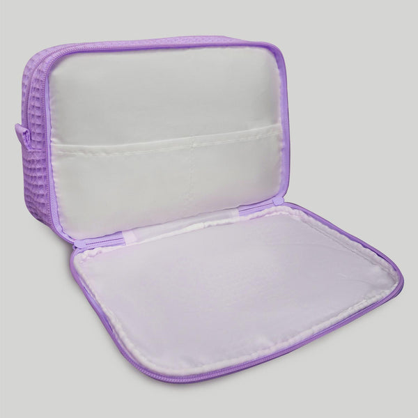 Multipurpose Lavender Make Up Bag For Women, Waffle Makeup Bags