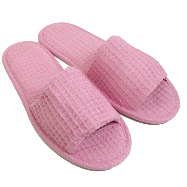 Open Toe Adult Slippers Non-Skid Sole Inexpensive, Waffle Hotel Spa Slippers, Slippers