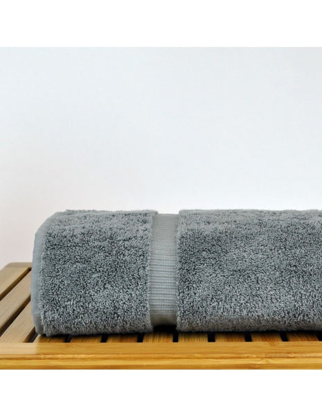 Perfect Soft Micro Cotton Bath Towel with Dobby Border - Gray - Set of 4, Bath Towels