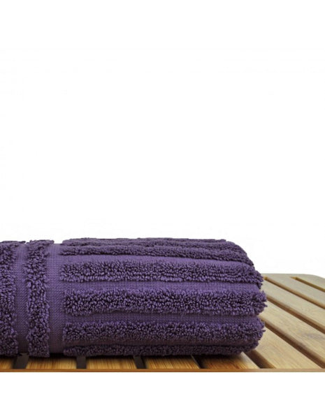 Perfect Soft Micro Cotton Hand Towels with Dobby Border - Plum - Set of 6