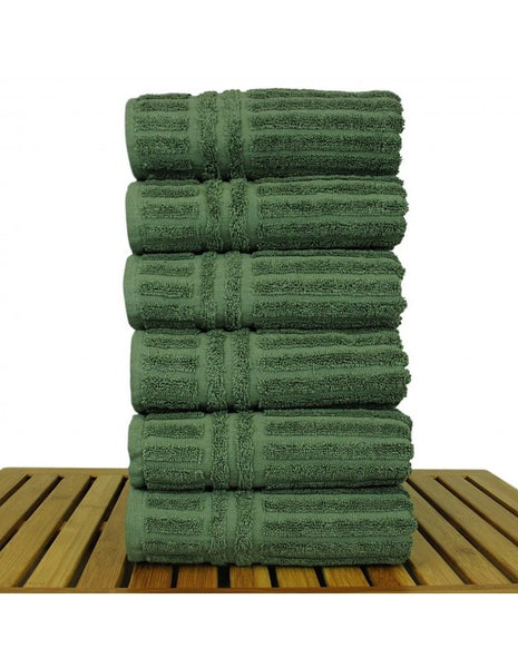 Premium Quality 100% Turkish Cotton Hand Towel Sets - Moss - Set of 6, Hand Towels