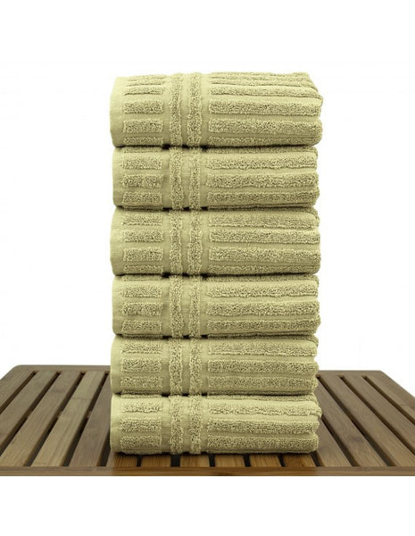 Quick Dry Turkish Luxury Bathroom Hand Towels - Drift Wood - Set of 6