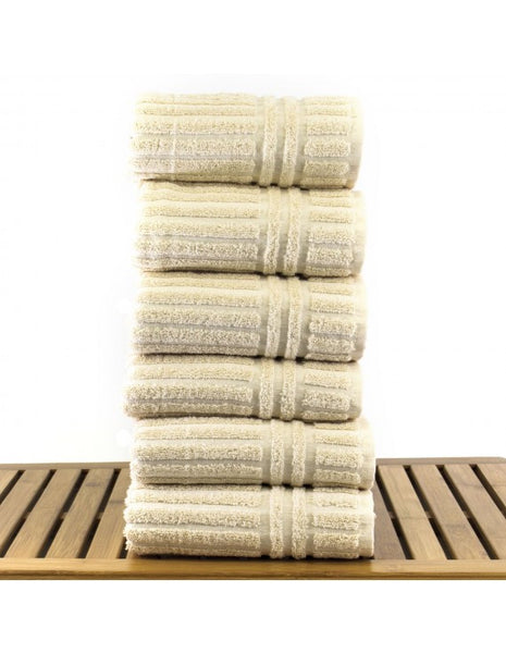 Resort Cotton Solid Lasting Color Hand Towels - Beige - Set of 6, Hand Towels