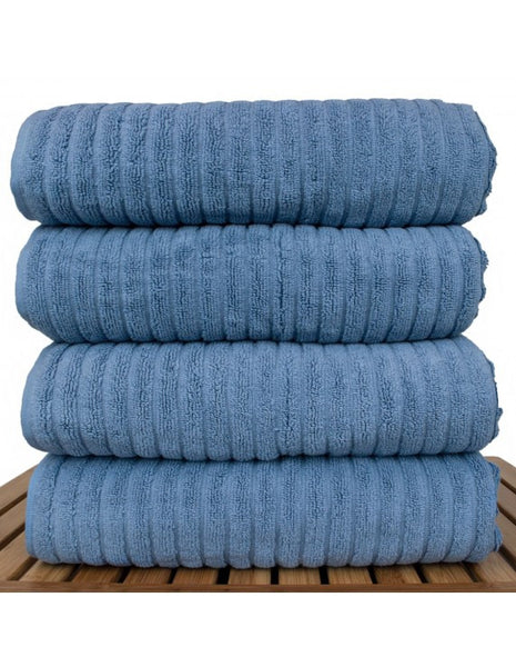 Ribbed Hotel Spa Towel 100% Cotton - Wedgwood Blue  - Set of 4, Bath Towels