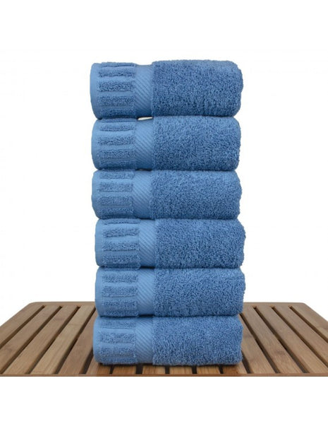 Silky Smooth & Super Absorbent Cotton Hand Towels - Wedgwood Blue - Set of 6, Hand Towels